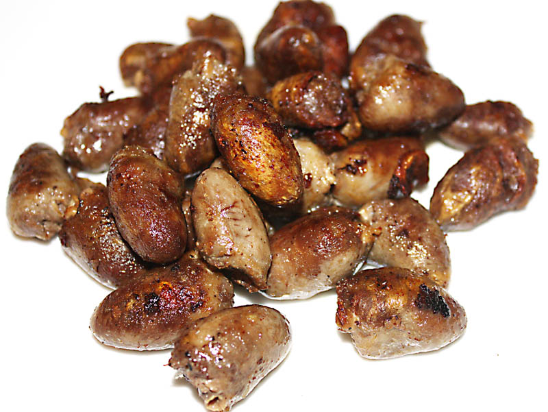 Chicken hearts just edible i think they look a lot nicer cooked than raw and they are so good to eat a little bit chewy cooked this way but by no means tough ccuart Images